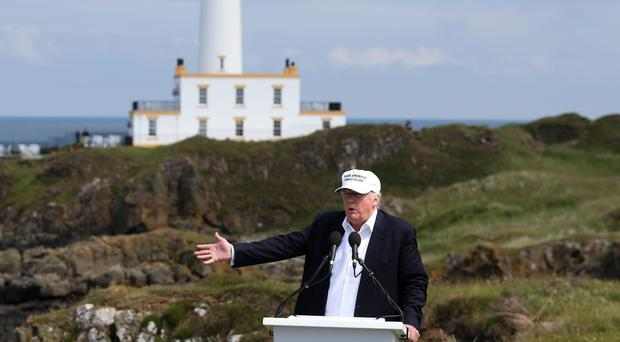 Donald Trump at Trump Turnberry golf course in South Ayrshire (Andrew Milligan/PA)