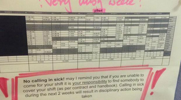 Wagamama has been criticised over a note about sickness spotted on a rota (Unite/PA)