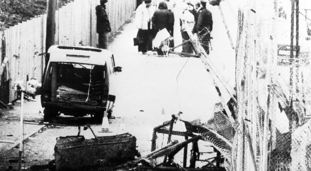The scene following an attack on Loughgall RUC station (Handout/PA)