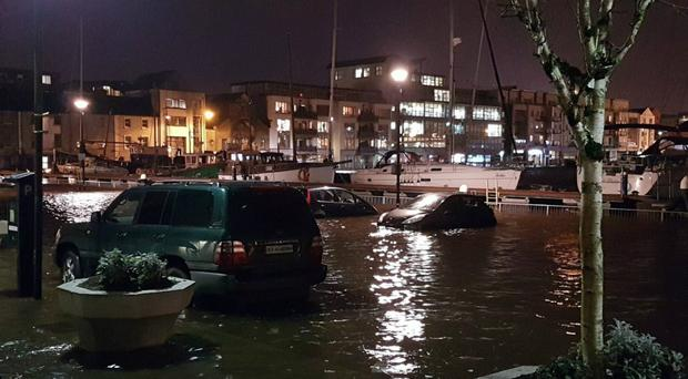 Flooded cars in Galway, Ireland, as storm Eleanor hit the country (Emma Hayward/Twitter/PA)