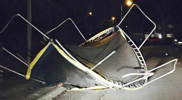 A trampoline in the road in Brigg, North Lincolnshire (@rbarraclough23/PA)