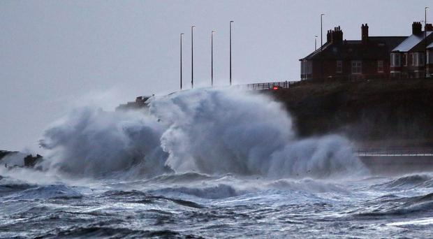 Strong winds and rough seas lash the North East coast near Cullercoats (Owen Humphreys/PA)