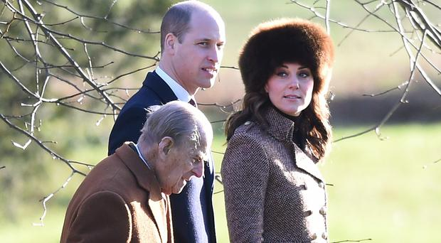 The Duke and Duchess of Cambridge and the Duke of Edinburgh attend a church service at St Mary Magdalene Church in Sandringham, Norfolk (Joe Giddens)