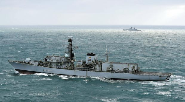 HMS Westminster, a Portsmouth-based Type 23 frigate, was scrambled to intercept two Russian warships (Ministry of Defence)