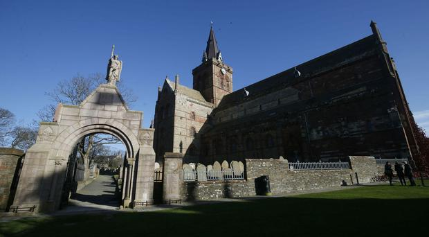 St Magnus Cathedral in Kirkwall, Orkney, where Wood set off the fireworks (PA)