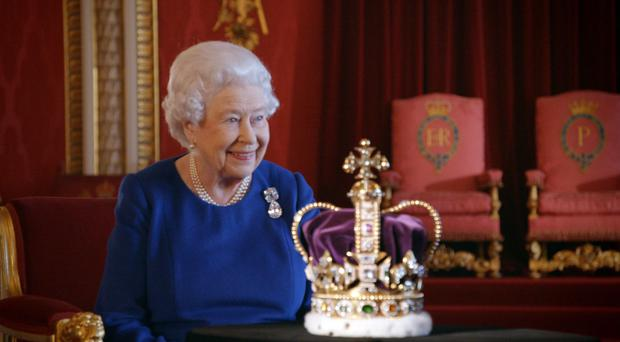 The Queen with the St Edward's Crown (BBC/PA)