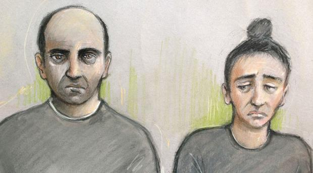 Court sketch of Ouissem Medouni and Sabrina Kouider who are accused of murdering Sophie Lionnet (Elizabeth Cook/PA0