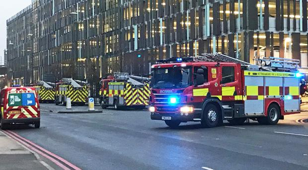 Fire appliances outside Nottingham railway station (Matthew Vincent/PA)