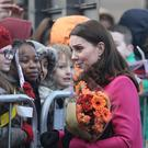 The Duchess of Cambridge meets the public as she arrives to tour the ruins of Coventry Cathedral (Aaron Chown/PA)