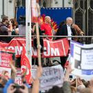 Jeremy Corbyn speaking in Parliament Square (Dominic Lipinski/PA)