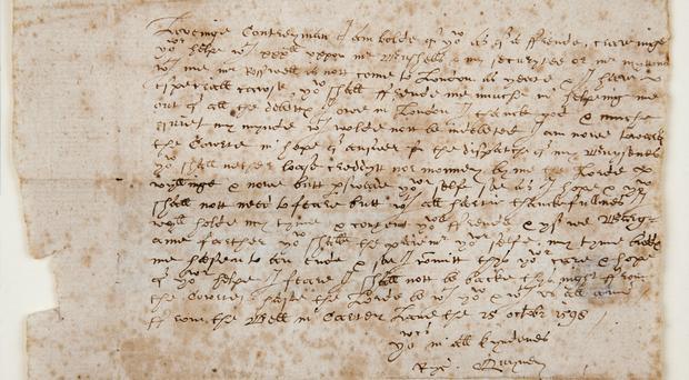 The Quiney Letter, the only known surviving letter written to William Shakespeare is one of the 90 documents recognised for their international cultural importance (Shakespeare Birthplace Trust/PA).