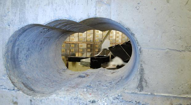 The tunnel leading into the vault at the Hatton Garden Safe Deposit company in London (Met Police/PA)