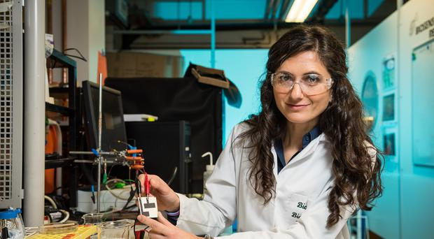 Dr Mirella Di Lorenzo and microbial fuel cell (University of Bath/PA)