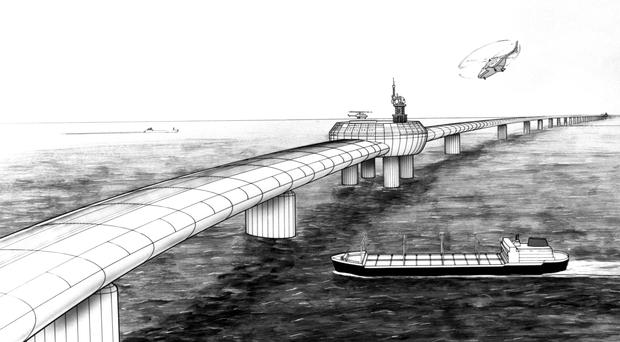 An artist's impression of the Eurolink bridge, a plan by four London businessmen for a road/rail bridge across the Channel (PA)