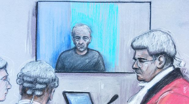 Barry Bennell appearing via videolink at Liverpool Crown Court