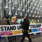Anti-Trump protesters outside the new US Embassy in Nine Elms, London (Yui Mok/PA)