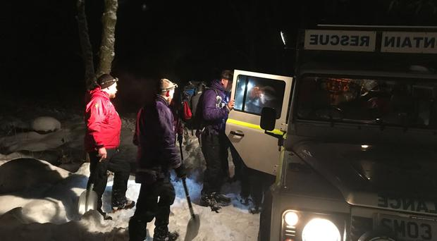 Moffat Mountain Rescue Team rescue a man stuck in snow in Dumfries and Galloway. (Moffat Mountain Rescue Team/PA)
