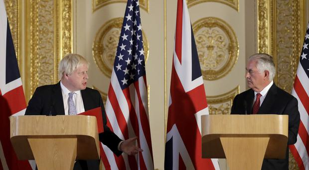 US Secretary of State Rex Tillerson in talks with Foreign Secretary Boris Johnson during a previous visit to the UK