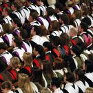 Students during a university graduation ceremony