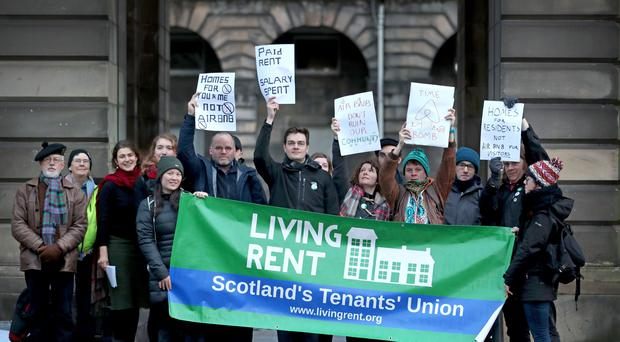 Campaigners protest at Edinburgh City Chambers