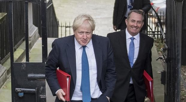 Foreign Secretary Boris Johnson and International Trade Secretary Liam Fox (right) arriving in Downing Street, London, for a Cabinet meeting. (Victoria Jones/PA)