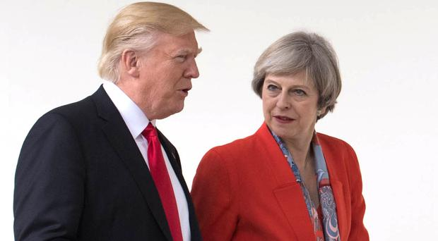 Prime Minister Theresa May and US president Donald Trump during a meeting in Washington DC (Stefan Rousseau/PA)