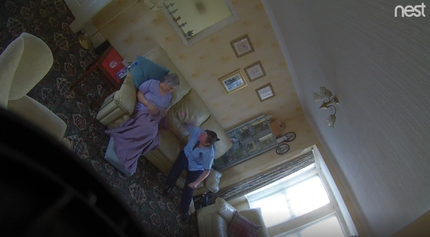 Tracey George, pictured right, was caught on camera slapping Sabina Marsden, 78, in her own home (Seatons)