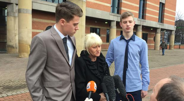 Sonny Stephenson's mother Elizabeth speaking outside Teesside Crown Court (Tom Wilkinson/PA)
