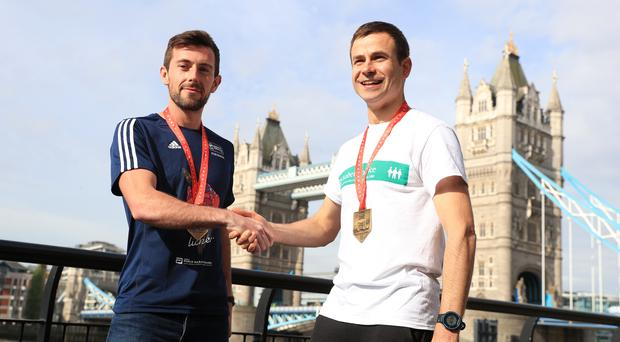 Matthew Rees, left, and David Wyeth after last year's London Marathon (Adam Davy/PA)