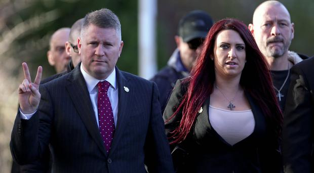 Paul Golding and Jayda Fransen (Gareth Fuller/PA)