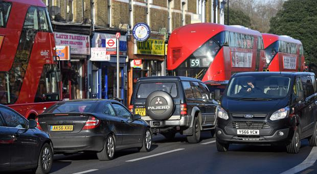 Brixton Road in London has reached annual pollution limits already this year (Victoria Jones/PA).