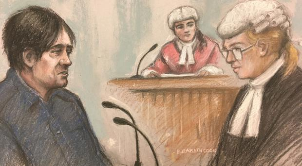 Court artist sketch by Elizabeth Cook of Darren Osborne in the witness box at Woolwich Crown Court