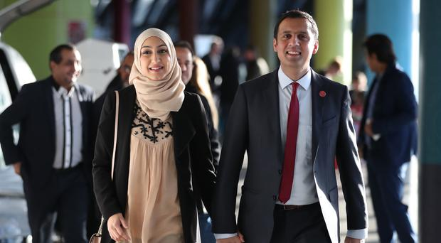 Labour MSP Anas Sarwar and his wife Furheen (Jane Barlow/PA)
