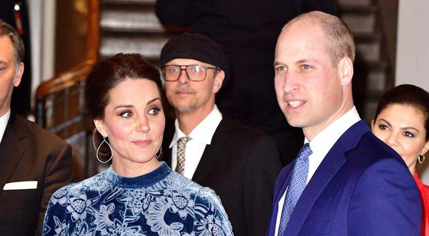 The Duke and Duchess of Cambridge during a Stockholm reception on Wednesday night to celebrate Swedish culture. (Dominic Lipinski/PA)