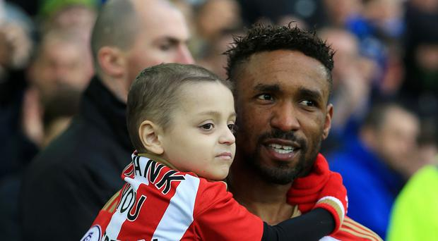 Jermain Defoe has been awarded a Personality of the Year award after striking up a relationship with Bradley Lowery, who died aged six (Peter Byrne/PA)
