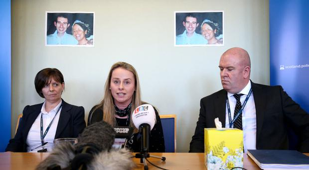 Amanda Digby joined police officers to appeal for information on the death of her brother Paul Mathieson (Jane Barlow/PA)