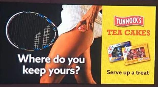 The advert featuring a female tennis player holding a Tunnock's tea cake in place of a tennis ball at the top of her thigh (ASA/PA)