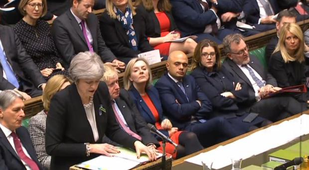 Prime Minister Theresa May speaks during PMQs (PA)