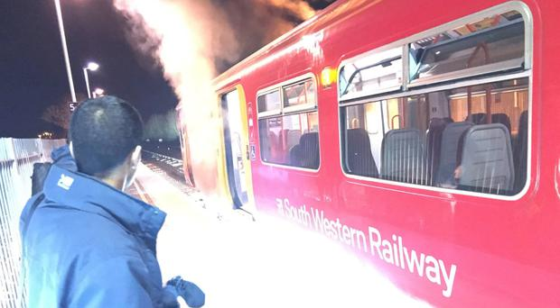 A fire on a South Western Railway train at Berrylands station