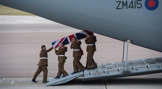 Repatriation of Captain Dean Sprouting at RAF Brize Norton following his death at Al Asad Air Base, Iraq, last month (Corporal Donald Todd/Ministry of Defence/PA)