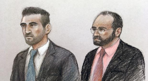 Court artist sketch of Vincent Tappu (left) and Mujahid Arshid in the dock of the Old Bailey (Elizabeth Cook/PA)