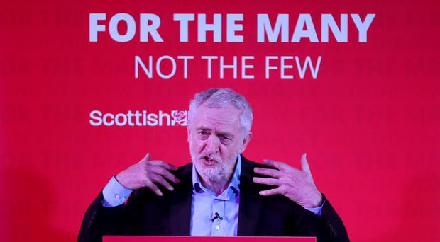 Labour leader Jeremy Corbyn speaks at a campaign rally at the Shottstown Miners Welfare Hall, Penicuik, Midlothian (Jane Barlow/PA)