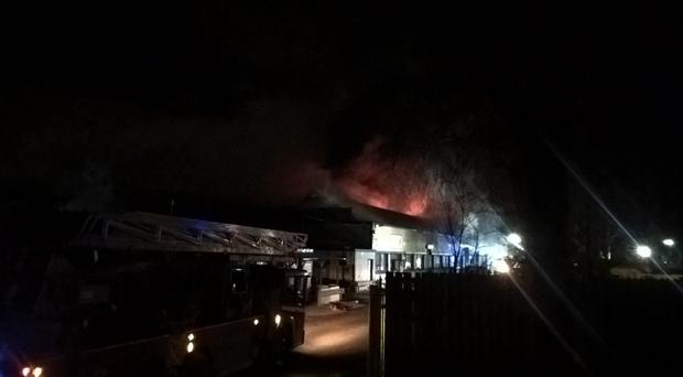 Warehouse units are on fire in Northolt (London Fire Brigade/PA)