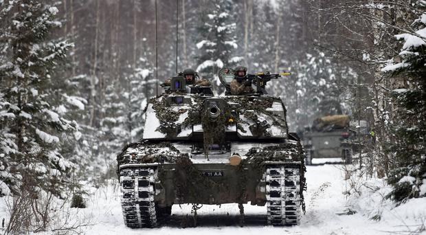 A Challenger 2 tank at a training area near Tapa in Estonia (Joe Giddens/PA)