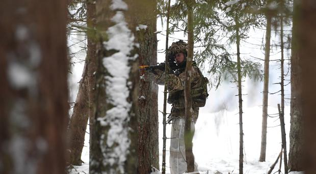 A soldier during Exercise Winter Camp at a training area in Estonia (Joe Giddens/PA)
