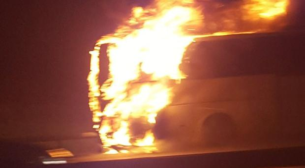 A coach caught fire on the M25 on Wednesday evening, between junctions 15 (M4 interchange) and 16 (M40 interchange). No injuries were reported. Photo credit: Tracey Howell.
