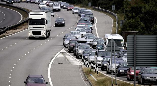 Traffic queues on the M23