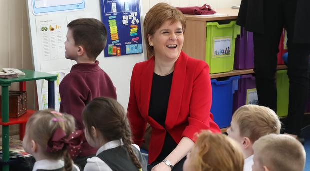 First Minister Nicola Sturgeon during a visit to Levenvale Primary School in Alexandria (Andrew Milligan/PA)