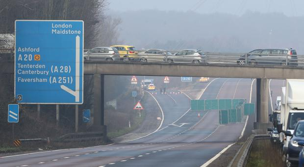 A screen on the northbound carriageway of the M20 in Kent (Gareth Fuller/PA)