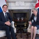 Prime Minister Theresa May meets the Dutch prime minister Mark Rutte inside 10 Downing Street (Stefan Rousseau/PA)